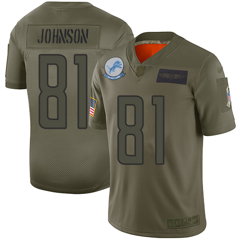 Nike Lions #81 Calvin Johnson Camo Youth Stitched NFL Limited 2019 Salute to Service Jersey