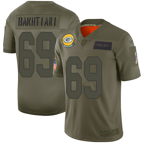 Nike Packers #69 David Bakhtiari Camo Youth Stitched NFL Limited 2019 Salute to Service Jersey