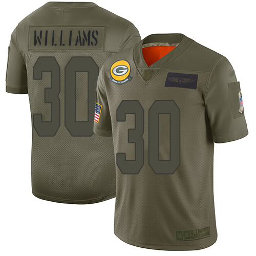 Nike Packers #30 Jamaal Williams Camo Youth Stitched NFL Limited 2019 Salute to Service Jersey