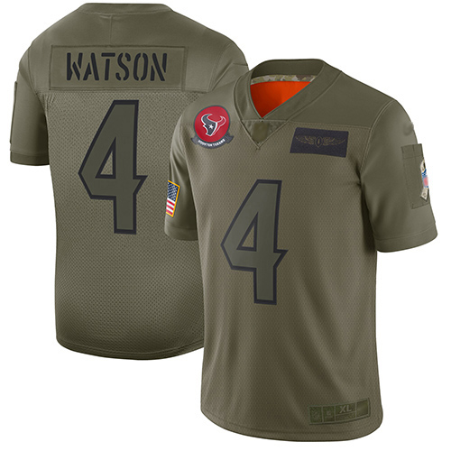Nike Texans #4 Deshaun Watson Camo Youth Stitched NFL Limited 2019 Salute to Service Jersey