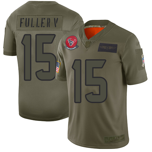 Nike Texans #15 Will Fuller V Camo Youth Stitched NFL Limited 2019 Salute to Service Jersey