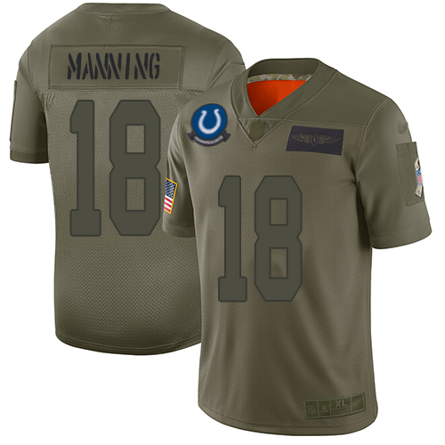 Nike Colts #18 Peyton Manning Camo Youth Stitched NFL Limited 2019 Salute to Service Jersey