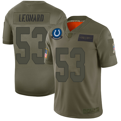 Nike Colts #53 Darius Leonard Camo Youth Stitched NFL Limited 2019 Salute to Service Jersey