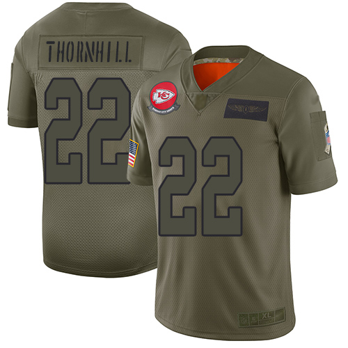 Nike Chiefs #22 Juan Thornhill Camo Youth Stitched NFL Limited 2019 Salute to Service Jersey