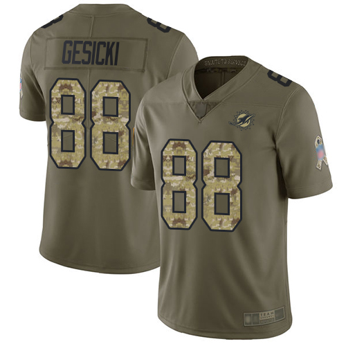 Nike Dolphins #88 Mike Gesicki Olive/Camo Youth Stitched NFL Limited 2017 Salute to Service Jersey