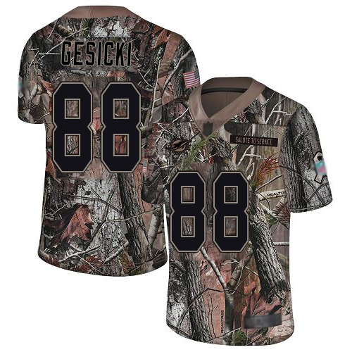 Nike Dolphins #88 Mike Gesicki Camo Youth Stitched NFL Limited Rush Realtree Jersey