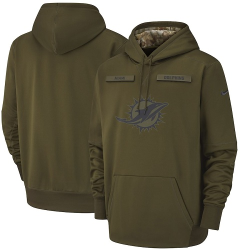 Youth Miami Dolphins Nike Olive Salute to Service Sideline Therma Performance Pullover Hoodie