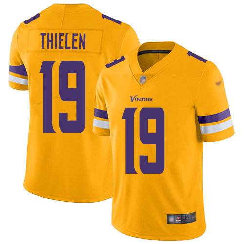 Nike Vikings #19 Adam Thielen Gold Youth Stitched NFL Limited Inverted Legend Jersey