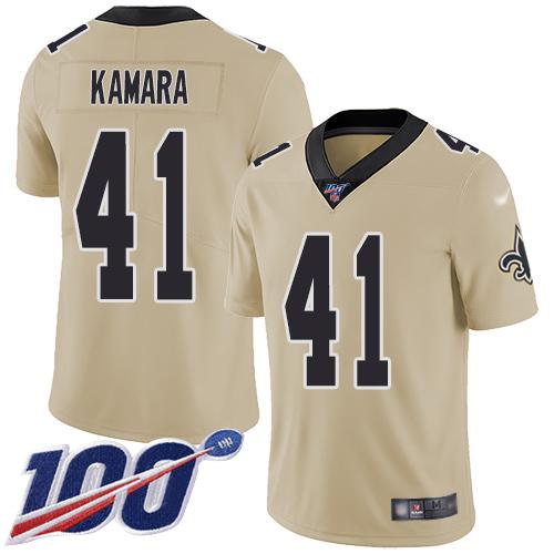 Nike Saints #41 Alvin Kamara Gold Youth Stitched NFL Limited Inverted Legend 100th Season Jersey