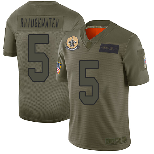 Nike Saints #5 Teddy Bridgewater Camo Youth Stitched NFL Limited 2019 Salute to Service Jersey