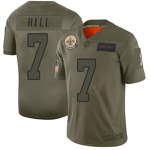 Nike Saints #7 Taysom Hill Camo Youth Stitched NFL Limited 2019 Salute to Service Jersey
