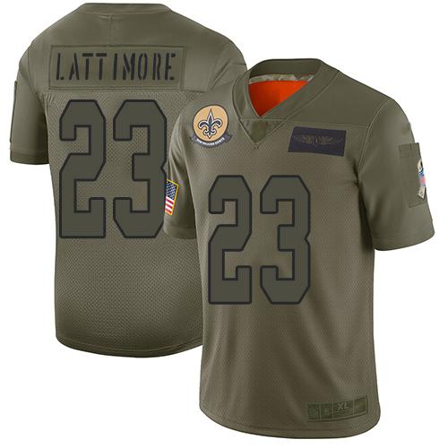 Nike Saints #23 Marshon Lattimore Camo Youth Stitched NFL Limited 2019 Salute to Service Jersey