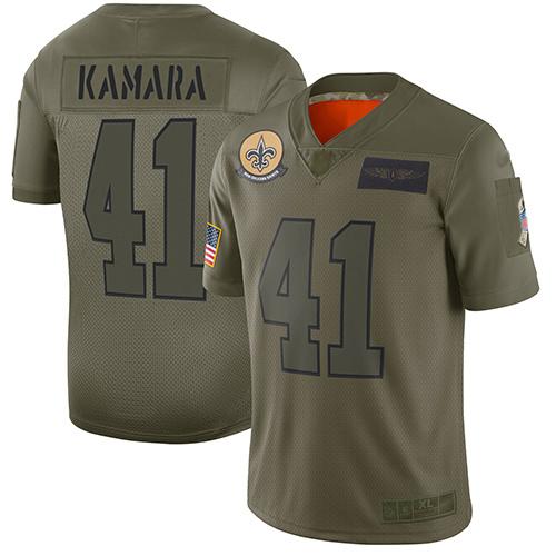 Nike Saints #41 Alvin Kamara Camo Youth Stitched NFL Limited 2019 Salute to Service Jersey