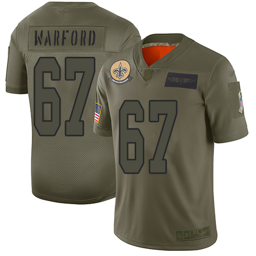 Nike Saints #67 Larry Warford Camo Youth Stitched NFL Limited 2019 Salute to Service Jersey