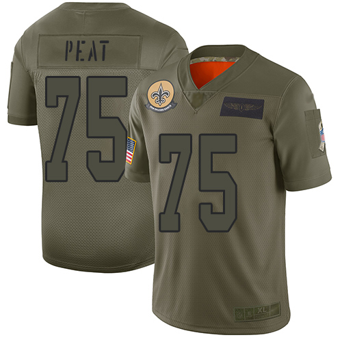 Nike Saints #75 Andrus Peat Camo Youth Stitched NFL Limited 2019 Salute to Service Jersey
