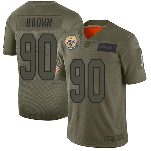Nike Saints #90 Malcom Brown Camo Youth Stitched NFL Limited 2019 Salute to Service Jersey