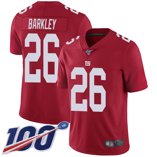 Nike Giants #26 Saquon Barkley Red Youth Stitched NFL Limited Inverted Legend 100th Season Jersey