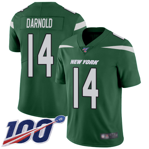 Nike Jets #14 Sam Darnold Green Team Color Youth Stitched NFL 100th Season Vapor Limited Jersey