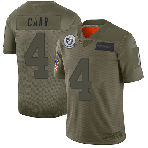 Nike Raiders #4 Derek Carr Camo Youth Stitched NFL Limited 2019 Salute to Service Jersey