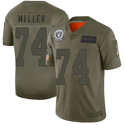 Nike Raiders #74 Kolton Miller Camo Youth Stitched NFL Limited 2019 Salute to Service Jersey