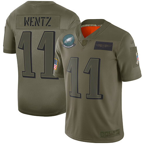 Nike Eagles #11 Carson Wentz Camo Youth Stitched NFL Limited 2019 Salute to Service Jersey