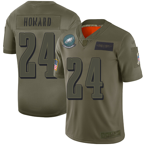 Nike Eagles #24 Jordan Howard Camo Youth Stitched NFL Limited 2019 Salute to Service Jersey