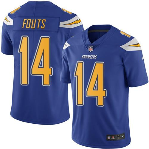 Nike Chargers #14 Dan Fouts Electric Blue Youth Stitched NFL Limited Rush Jersey