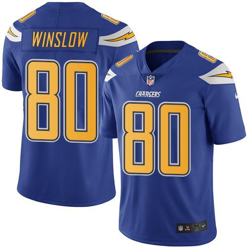 Nike Chargers #80 Kellen Winslow Electric Blue Youth Stitched NFL Limited Rush Jersey