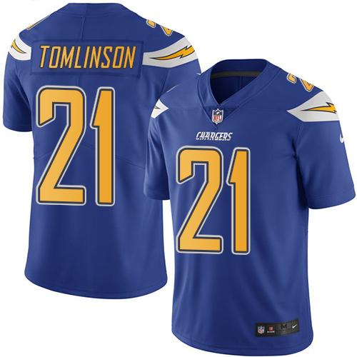 Nike Chargers #21 LaDainian Tomlinson Electric Blue Youth Stitched NFL Limited Rush Jersey