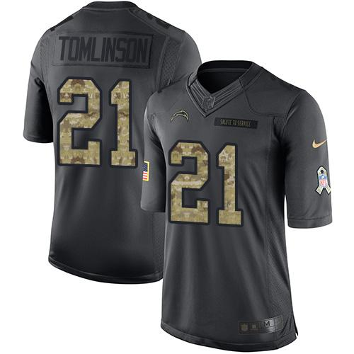 Nike Chargers #21 LaDainian Tomlinson Black Youth Stitched NFL Limited 2016 Salute to Service Jersey
