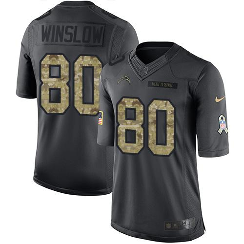 Nike Chargers #80 Kellen Winslow Black Youth Stitched NFL Limited 2016 Salute to Service Jersey