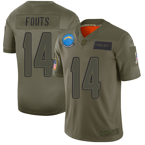 Nike Chargers #14 Dan Fouts Camo Youth Stitched NFL Limited 2019 Salute to Service Jersey