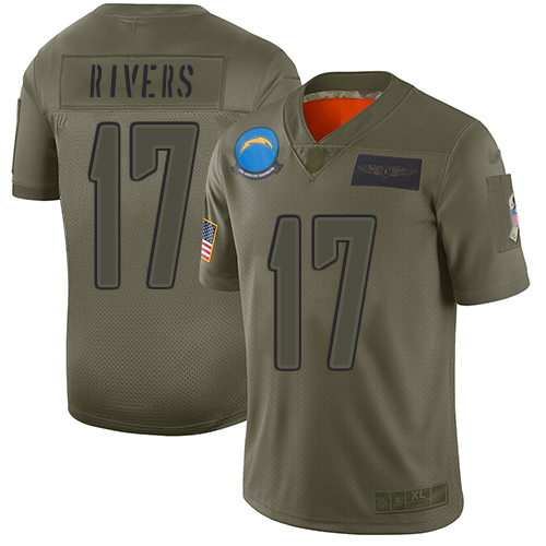 Nike Chargers #17 Philip Rivers Camo Youth Stitched NFL Limited 2019 Salute to Service Jersey
