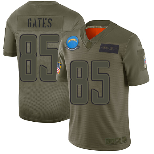 Nike Chargers #85 Antonio Gates Camo Youth Stitched NFL Limited 2019 Salute to Service Jersey