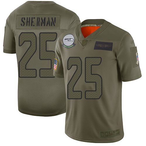 Nike Seahawks #25 Richard Sherman Camo Youth Stitched NFL Limited 2019 Salute to Service Jersey