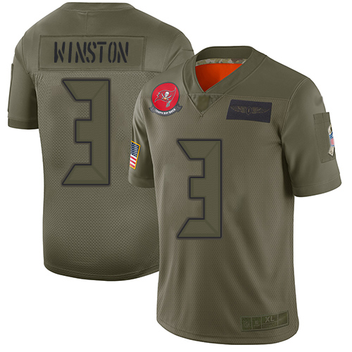 Nike Buccaneers #3 Jameis Winston Camo Youth Stitched NFL Limited 2019 Salute to Service Jersey