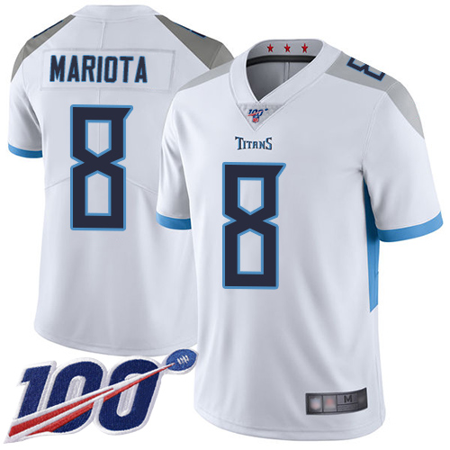 Nike Titans #8 Marcus Mariota White Youth Stitched NFL 100th Season Vapor Limited Jersey