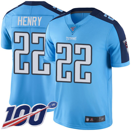 Nike Titans #22 Derrick Henry Light Blue Youth Stitched NFL Limited Rush 100th Season Jersey