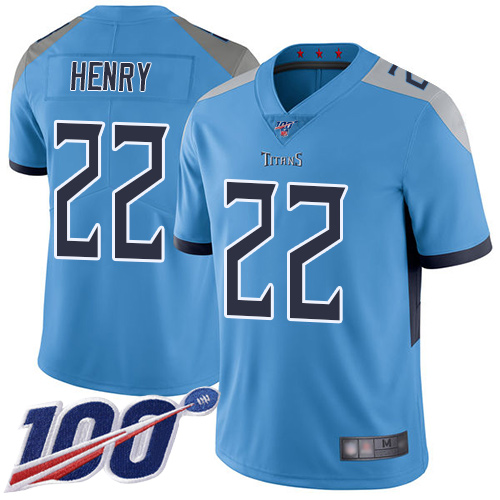 Nike Titans #22 Derrick Henry Light Blue Alternate Youth Stitched NFL 100th Season Vapor Limited Jersey