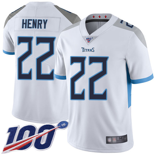 Nike Titans #22 Derrick Henry White Youth Stitched NFL 100th Season Vapor Limited Jersey