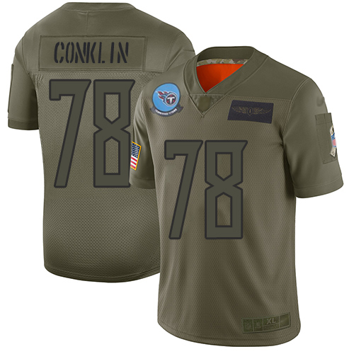 Nike Titans #78 Jack Conklin Camo Youth Stitched NFL Limited 2019 Salute to Service Jersey