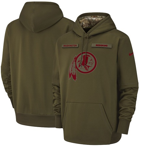Youth Washington Redskins Nike Olive Salute to Service Sideline Therma Performance Pullover Hoodie