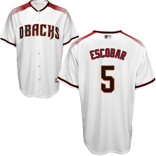 Diamondbacks #5 Eduardo Escobar White/Crimson Home Stitched Youth MLB Jersey