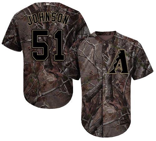 Diamondbacks #51 Randy Johnson Camo Realtree Collection Cool Base Stitched Youth MLB Jersey