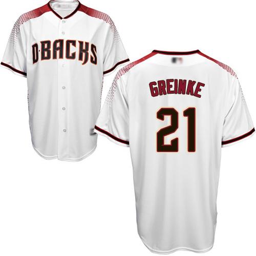 Diamondbacks #21 Zack Greinke White/Crimson Home Stitched Youth MLB Jersey