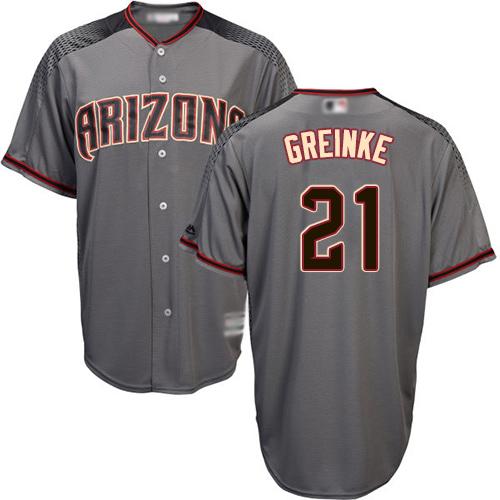 Diamondbacks #21 Zack Greinke Gray Road Stitched Youth MLB Jersey