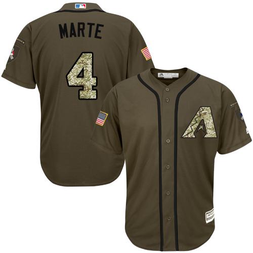 Diamondbacks #4 Ketel Marte Green Salute to Service Stitched Youth MLB Jersey