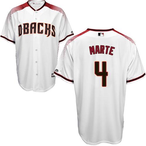 Diamondbacks #4 Ketel Marte White/Crimson Home Stitched Youth MLB Jersey