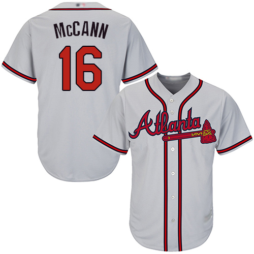 Braves #16 Brian McCann Grey Cool Base Stitched Youth MLB Jersey