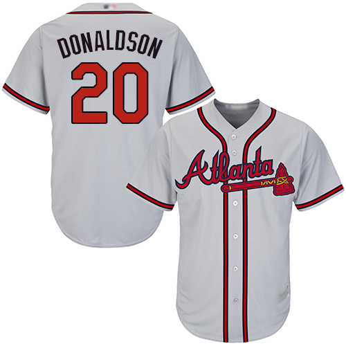 Braves #20 Josh Donaldson Grey Cool Base Stitched Youth MLB Jersey